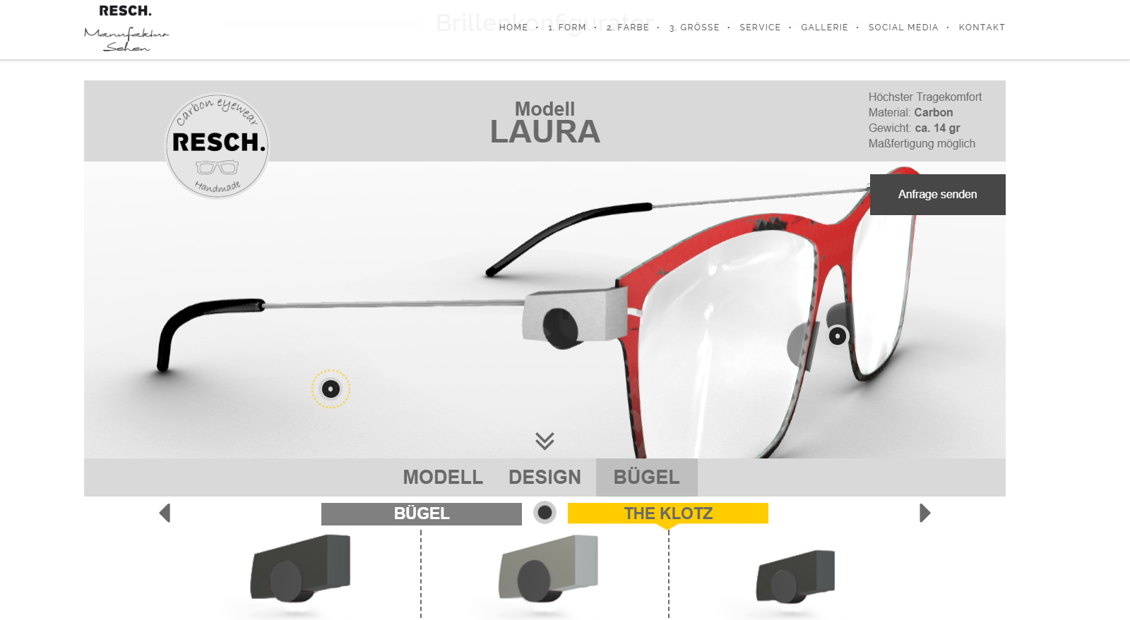 Eyeglass Configurator preview