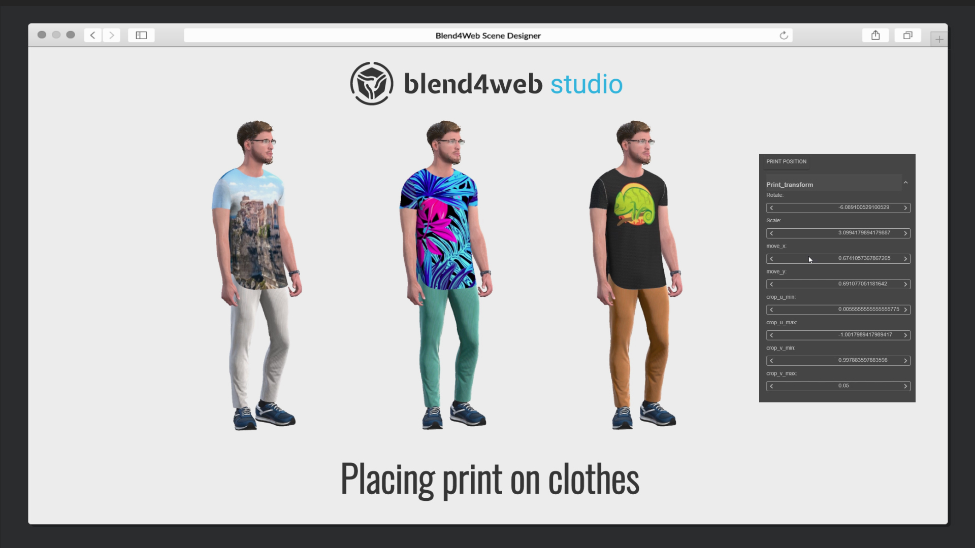 Blend4Web Studio: placing a print on clothes