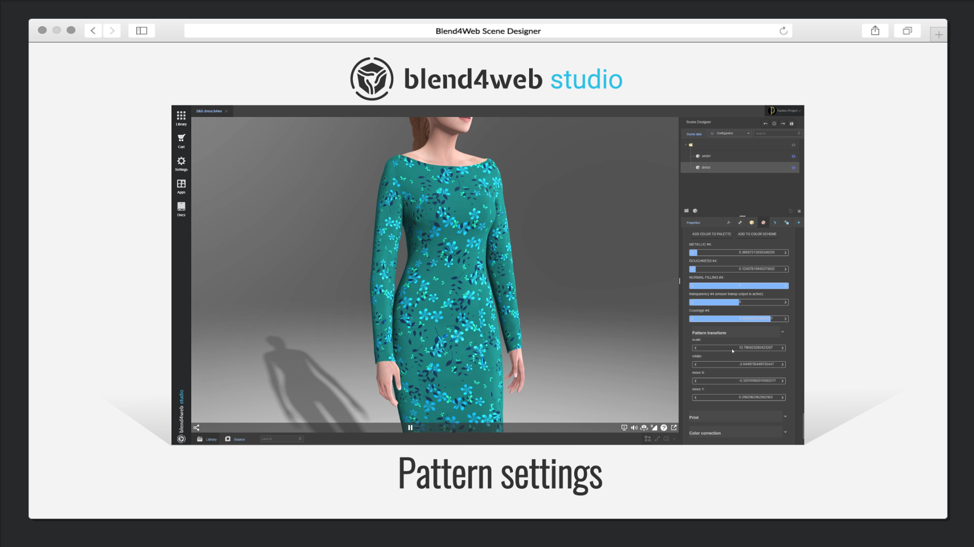 Blend4Web Studio: setting-up a pattern