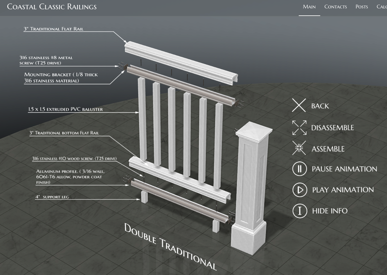 Coastal Classic Railings - 3D Website and product